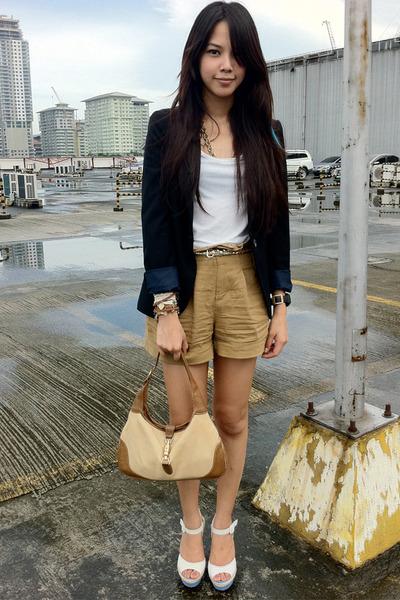 tan Gucci bag - black Zara blazer - brown paper bag Forever 21 shorts