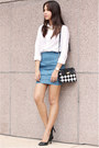 White-button-down-uniqlo-top-carlos-concecpcion-for-viktor-jeans-skirt