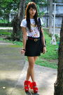 white Anthology shirt - Gucci - black H&M skirt - red Topshop - black Forever 21