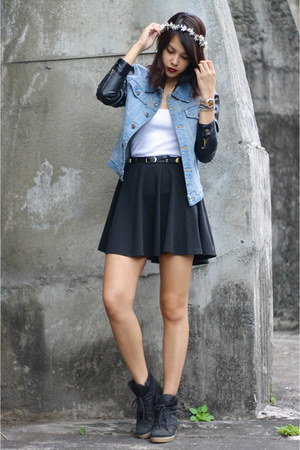 light blue leather sleeved Stylehunterph jacket - black cotton on skirt