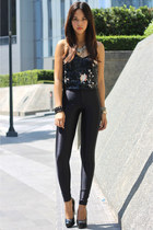 black sequined Topshop top - black Aldo pumps