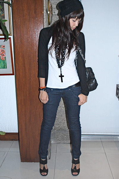 black Forever 21 - black cardigan - white Topshop - H&amp;M - black Aldo