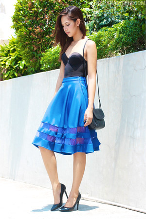 blue apartment 8 skirt - black bench skirt - black lanvin bag