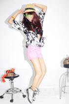 pink denim Bershka shorts - silver doc martens boots - black Bershka intimate