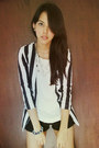 Striped-what-a-girl-wants-blazer-black-american-apparel-shorts