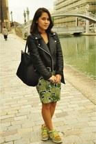 Zara jacket - longchamp bag - H&M skirt - nike sneakers