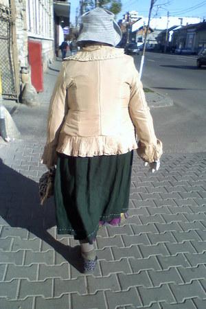 skirt - tights - boots - blazer - gloves - bag