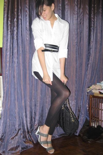 calvin klein shirt - H&M leggings - Promod belt - department store shoes