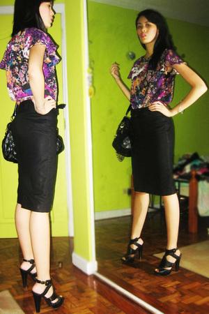 beauty top - Mango skirt - Marc Jacobs purse - boutique shoes