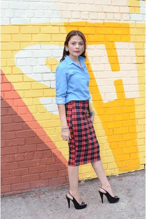 blue Uniqlo blouse - black Chinese Laundry heels - ruby red unkown skirt