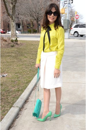 yellow Forever21 blouse - white Club Monaco skirt - chartreuse JCP heels