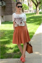 off white Forever 21 t-shirt - tawny unkown skirt - burnt orange Zara sandals