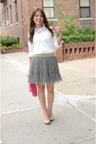 heather gray unknown skirt - tan Zara boots - ivory Forever 21 shirt