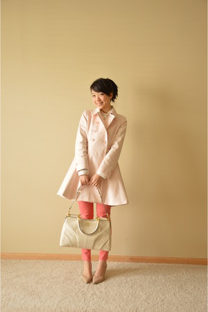 light pink Baker by Ted Baker coat - beige coach bag - salmon Gap pants