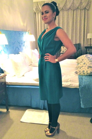 gold Topshop shoes - teal Giambattista Valli dress