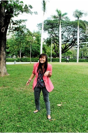 pink thrifted blazer - chain thrifted bag - Greenhills pants - black sm departme