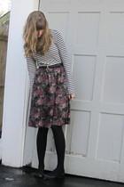 white f21 clearance top - pink thrift skirt - black thrift belt