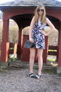 Black-target-sunglasses-pink-thrifted-and-hemmed-dress-black-thrift-purse-