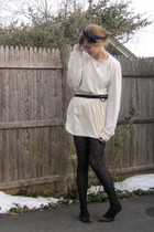 beige stolen from dad sweater - beige American Apparel dress - black H&M tights