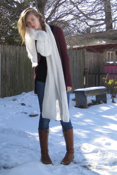 white H&M scarf - red Target cardigan - brown f21 boots