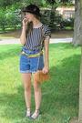 Black-target-hat-blue-thrift-shorts-blue-thrift-top-gold-random-belt-bla