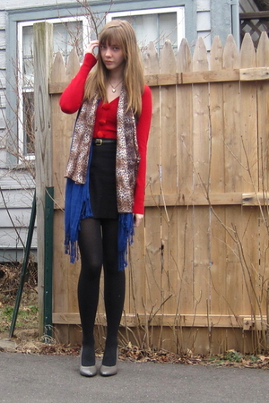 red random sweater - gray H&amp;M shoes - blue Target scarf - brown NY scarf