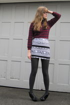 red moms shirt - black American Apparel skirt - black H&M boots