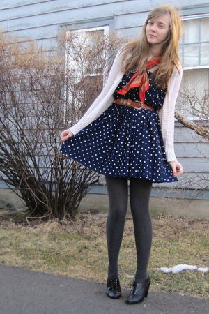 white Target cardigan - red moms scarf - blue thrift skirt - brown consignment b