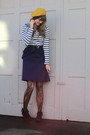 Gold-target-hat-blue-h-m-shirt-purple-i-forget-dress-black-f21-tights