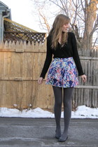 black Target cardigan - purple delias skirt - black Nine West shoes