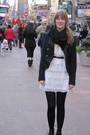 White-dress-black-jacket-black-shoes-black-scarf