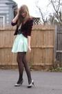 Red-2nd-hand-blazer-beige-f21-blouse-brown-f21-belt-green-selfmade-skirt-