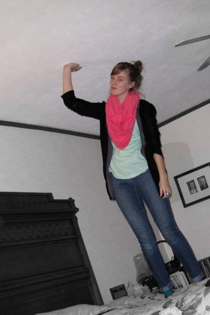 pink aa scarf - green f21 shirt - gray Macys vest - black Target cardigan