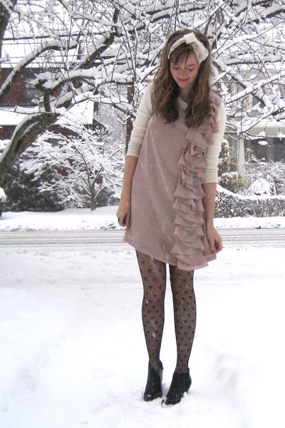 beige Target dress - black Topshop tights - black H&M boots