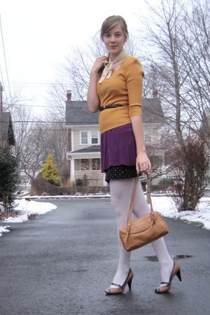 gold random sweater - purple f21 dress - black H&amp;M skirt - brown vintage purse
