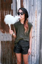 sleeveless White Stag shirt - leather Forever 21 shorts - PROENZA SCHOULER sungl
