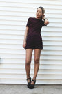 Maroon-acne-shorts-maroon-h-m-t-shirt-black-miu-miu-pumps