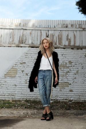 black wooly Leifsdottir jacket - sky blue boyfriend rag & bone jeans