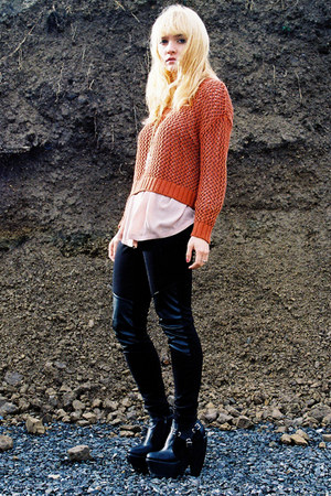 black FAKE BALENCIAGA boots - burnt orange H&amp;M sweater - light pink H&amp;M blouse -