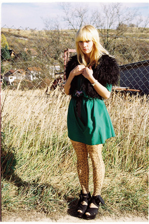 dark green vintage dress - black Zara vest - camel koloria tights - bubble gum u