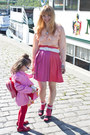 Red-american-apparel-socks-black-h-m-sandals-hot-pink-h-m-skirt-peach-h-m-
