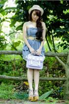 sm accessories hat - neon heels Parisian shoes - denim dress XOXO dress
