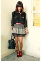 black sheer Trunkshowmultiplycom top - black thrifted skirt - ruby red fashionst