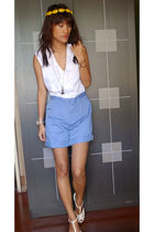 white Going Modern by Archive romper shorts - white CMG wedge shoes - white Tech