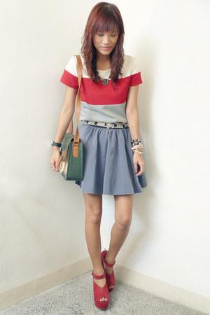 ruby red Jellybean wedges - green satchel Chicifycom bag - heather gray SM skirt