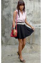 black from department store skirt - Ralph Lauren tights - red Liz Claiborne Bag