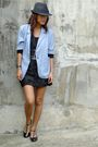 Blue-archive-blazer-black-thrifted-dress-black