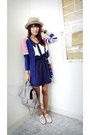 Blue-marc-jacobs-cardigan-navy-landmark-dress-light-pink-custom-made-shoes-