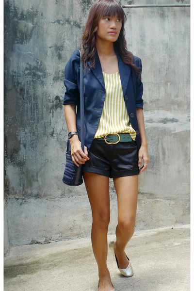 black Forever21 shorts - gold cotton on shoes - blue thrifted blazer - yellow vi