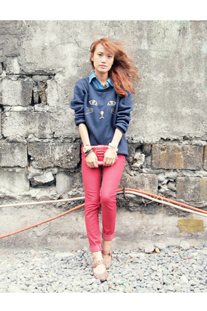 navy chicnova sweater - ruby red Basic House pants